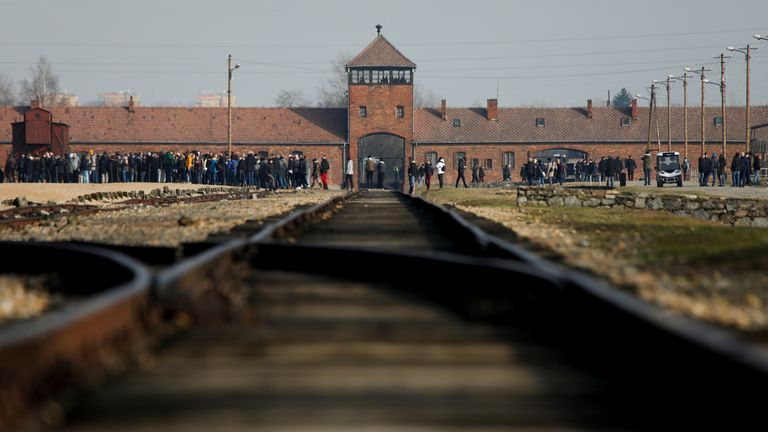 Part of the railway tracks leading into the Nazi death camp were stolen