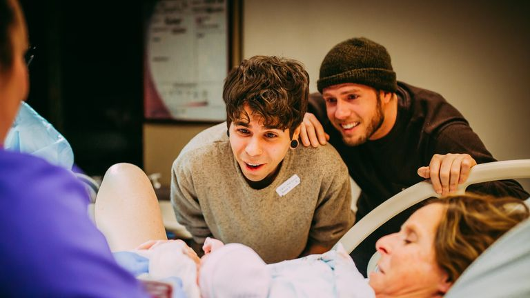 Elliot and Matthew meet their daughter Uma for the first time