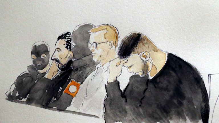 Court sketch of Mehdi Nemmouche and Nacer Bendrer during the trial