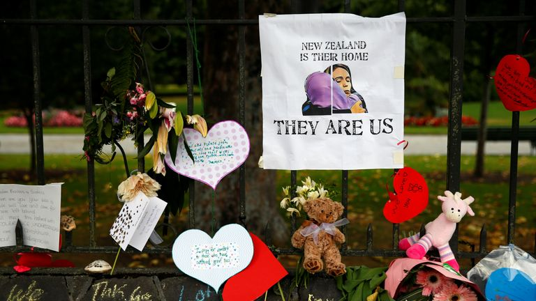 Flowers are also being left at a memorial site at Christchurch's botanic ardens
