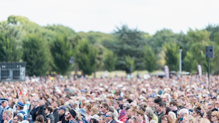An estimated 20,000 people attended the service in Christchurch