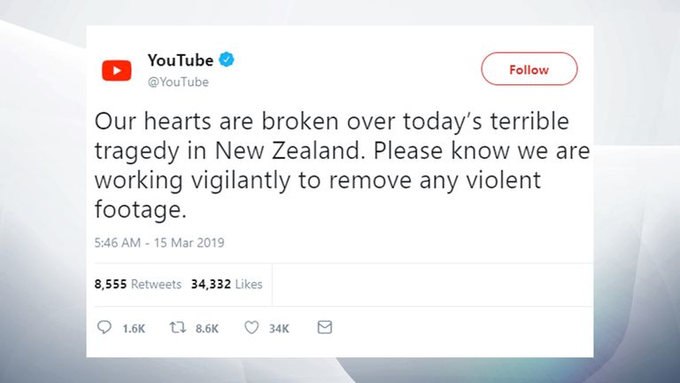 YouTube statement on Twitter