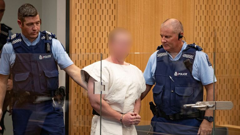 Brenton Tarrant, charged for murder in relation to the mosque attacks, is seen in the dock during his appearance in the Christchurch District Court, New Zealand March 16, 2019.