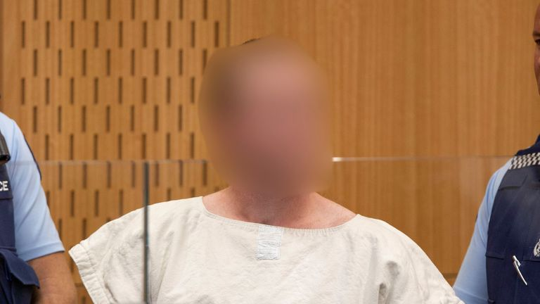Brenton Tarrant, charged for murder in relation to the mosque attacks, is seen in the dock during his appearance in the Christchurch District Court, New Zealand March 16, 2019