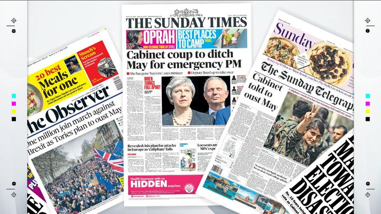 Front pages of Sunday newspapers