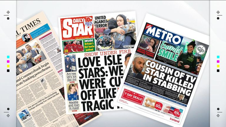 A selection of Monday's front pages
