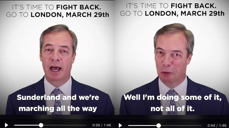 Nigel Farage encourages people to walk the 'Brexit Betrayal March' on social media