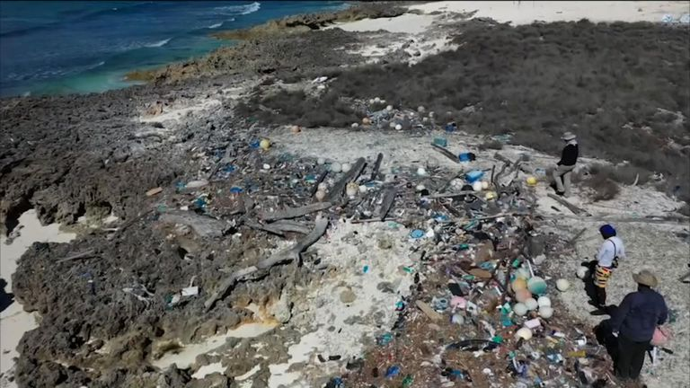 Mounds of plastic pollution on Aldabra