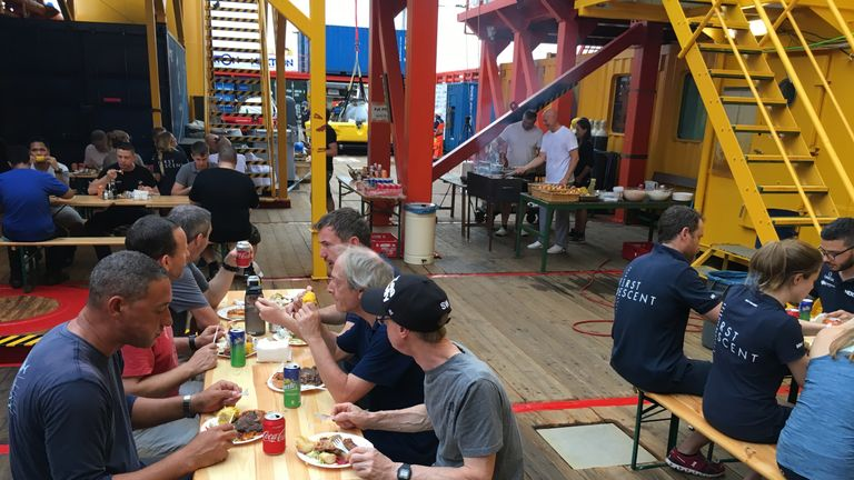 The team on Ocean Zephyr enjoy a BBQ and a break