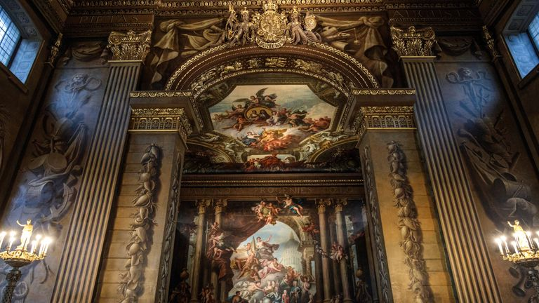 The Painted Hall was designed by Sir Christopher Wren as a ceremonial dining room in the early 18th century