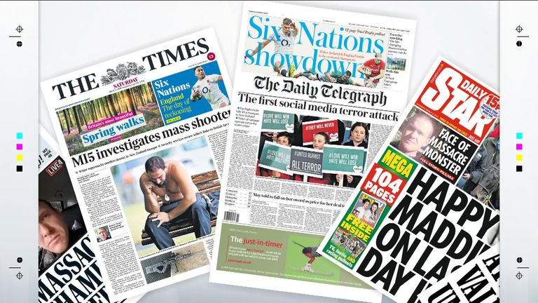 Sky News takes a look at the stories making a splash in Saturday's national newspapers.