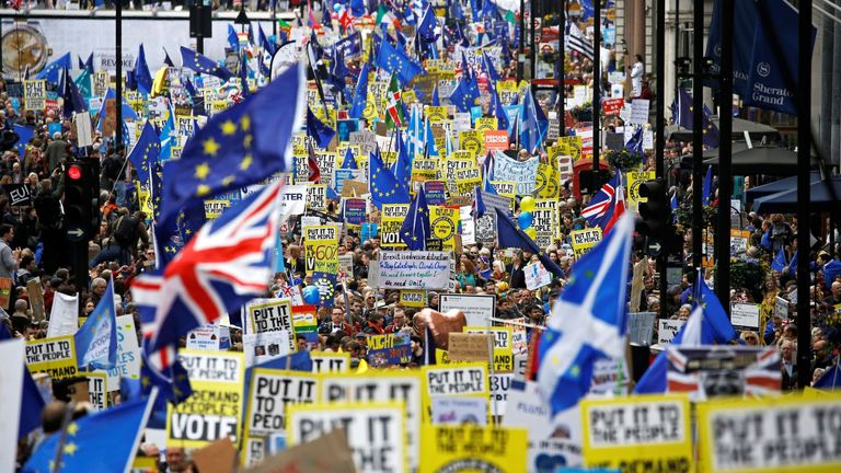 Organisers said a million demonstrators attended the People's Vote March