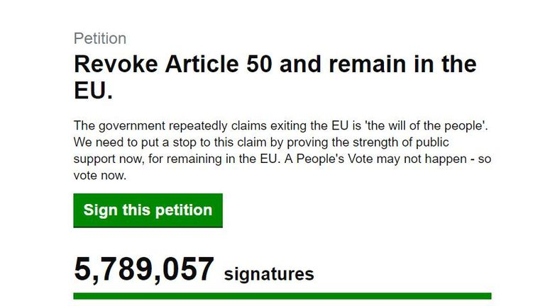 Parliament will debate the petition on Monday
