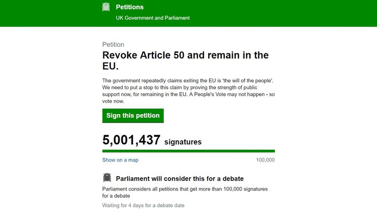 The petition to revoke Article 50 has reached five million