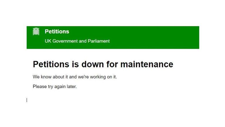The parliamentary petitions website went down