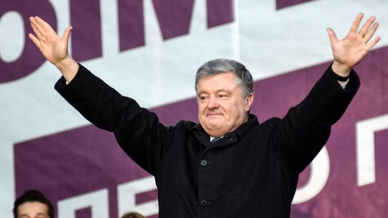 President Petro Poroshenko greets his supporters during a campaign rally in the western city of Lviv