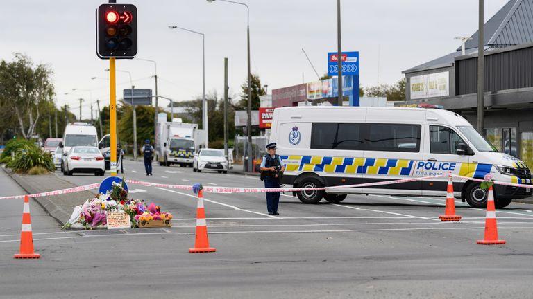 Police cordon near Linwood mosque
