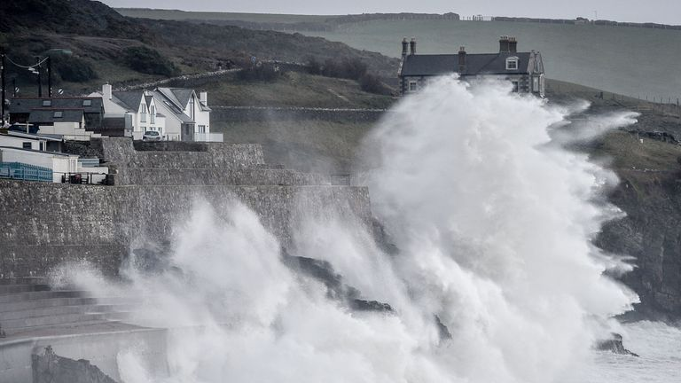 The coast at Porthleven in Cornwall as Storm Freya brings high winds