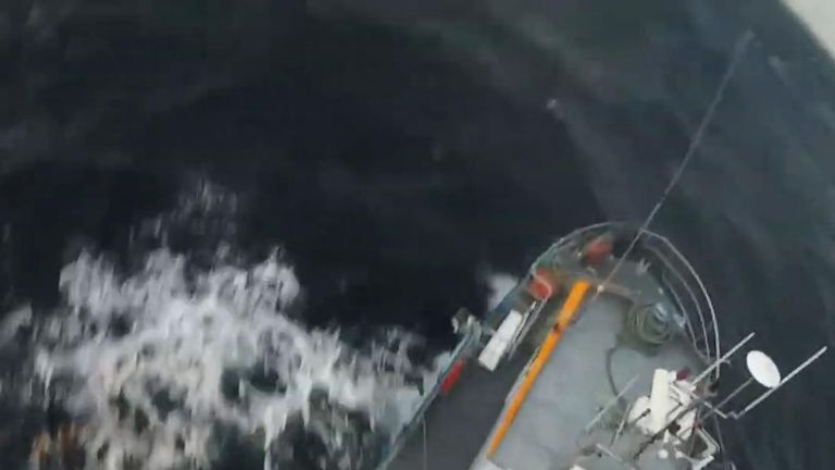 A team from the Portuguese Air Force's helicopter squadron carried out a dramatic rescue in choppy seas, according to video released on March 1.
