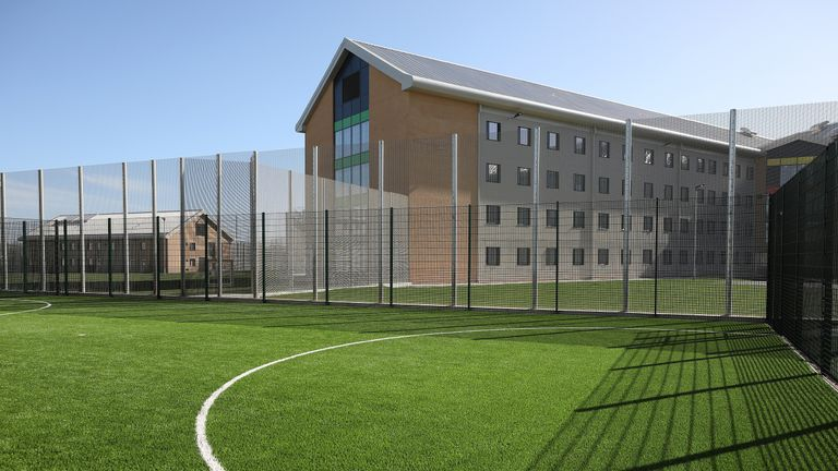 An outside football pitch at HMP Berwyn