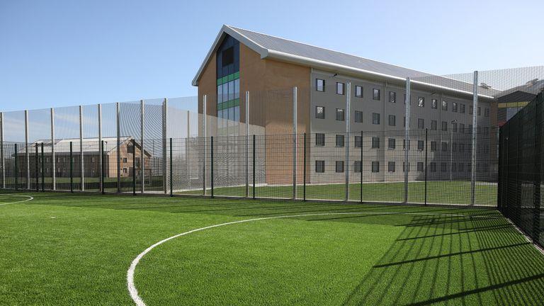 An outside football pitch at HMP Berwyn