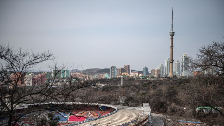 Part of Kim Il-sung Stadium and Pyongyang's skyline are seen from Moran Hill on February 08, 2019 in Pyongyang, North Korea