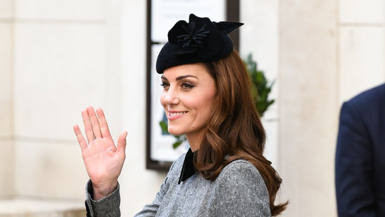 Kate wore a bespoke Catherine Walker grey coat for the engagement