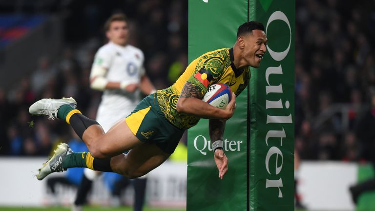 Israel Folau of Australia scores a try during the Quilter International match between England and Australia at Twickenham Stadium on November 24, 2018 in London, United Kingdom