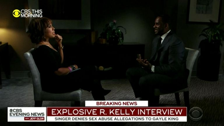 R Kelly was interviewed by Gayle King Pic: CBS THIS MORNING