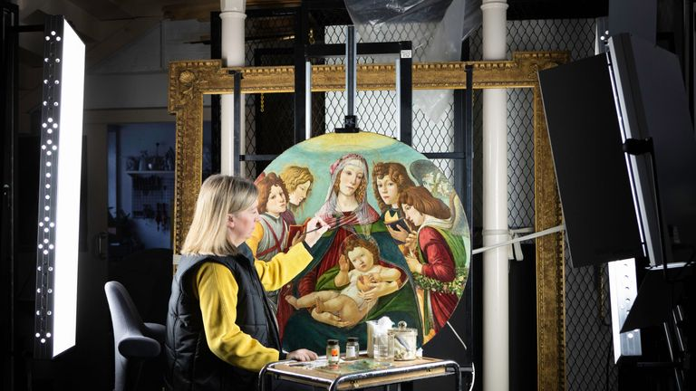 Rachel Turnbull, as she completes the conservation of Sandro Botticelli's famous Madonna Of The Pomegranate