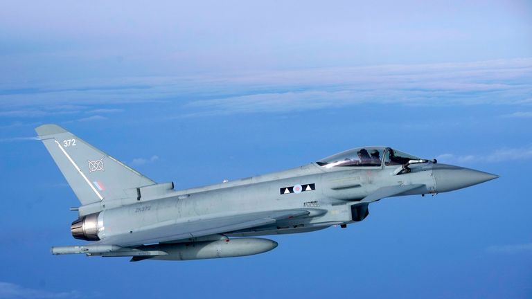 An RAF Eurofighter Typhoon flies off during an RAF Voyager