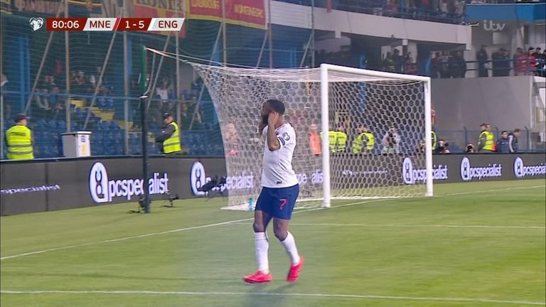 Sterling responded to rival fans after scoring. Pic: ITV Sport