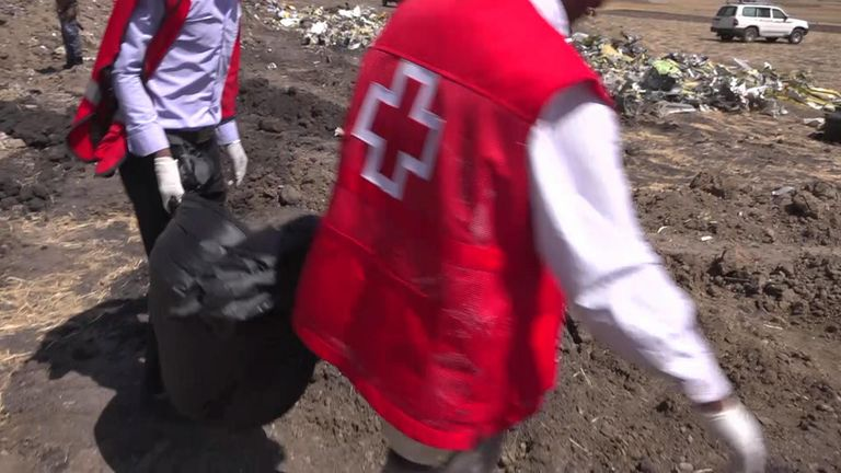 Members of the Red Cross are searching for the passengers' remains