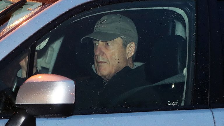 Special Counsel Robert Mueller arrives at his office in Washington DC