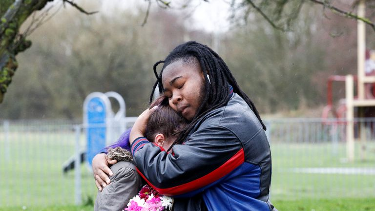 Family and friends visit the area where 17-year-old Jodie Chesney was killed, at the Saint Neots Play Park in Harold Hill, east London, Britain March 3, 2019. REUTERS/Henry Nicholls