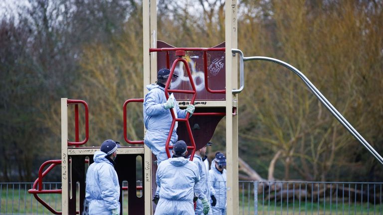 Police forensics officers search the area near to where 17-year-old Jodie Chesney was killed, at the Saint Neots Play Park in Harold Hill, east London, Britain March 3, 2019. REUTERS/Henry Nicholls