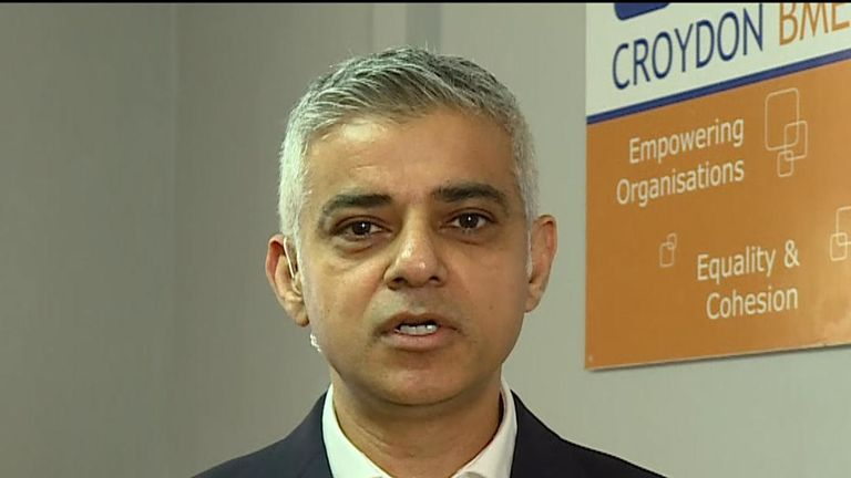 Mayor of London Sadiq Khan is critical of the prime minister and home secretary over police cuts