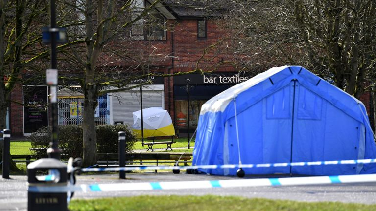 The bench where the Skripals were found was covered with a protective tent after the poisonings