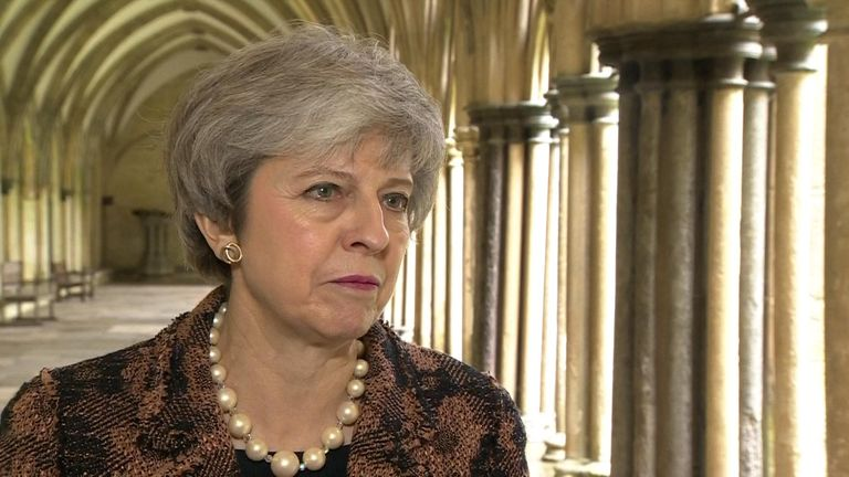 The prime minister visited Salisbury on the anniversary of the novichok poisonings.