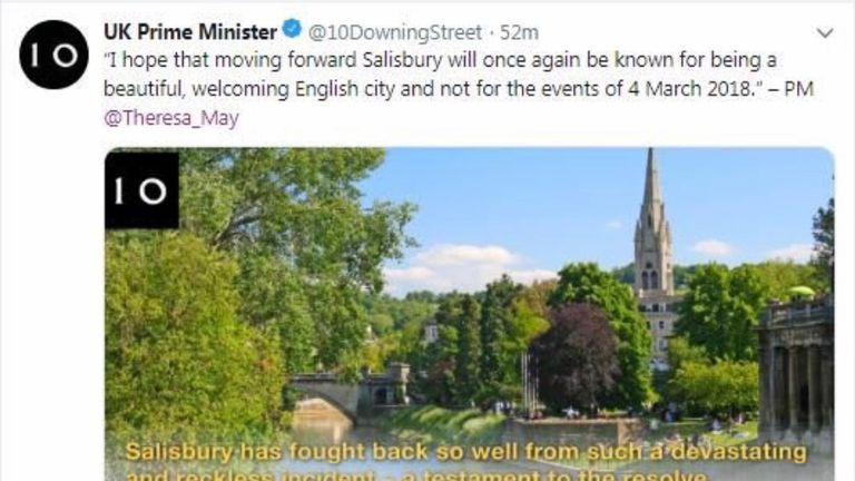 Screenshot of a tweet from the PM's Twitter account confusing Salisbury with Bath