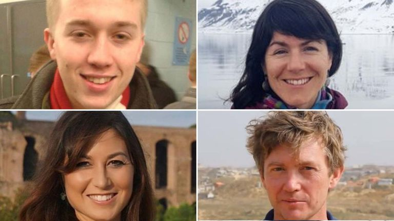 Top left to bottom right: Sam Pegram, Sarah Auffret, Joanna Toole and Michael Ryan were all killed in the crash