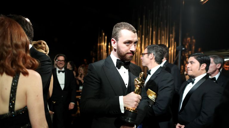 Sam Smith pictured at the Oscars in 2016