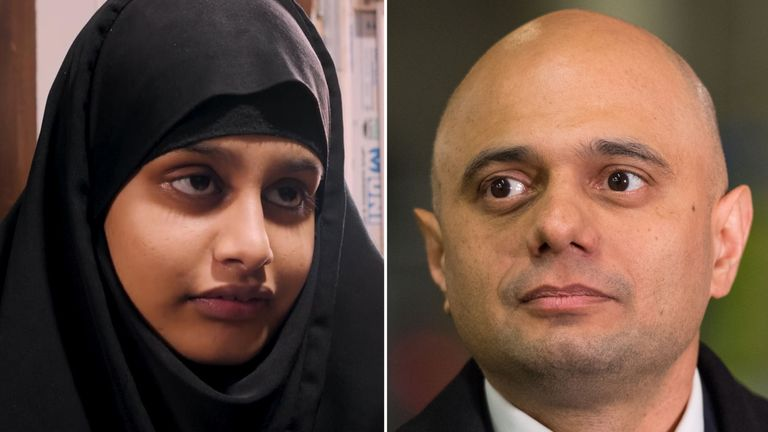 Shamima Begum was stripped of her British citizenship by Sajid Javid
