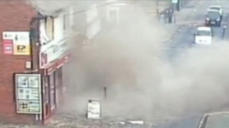 Detectives are investigating a suspicious gas explosion at a shop in Staffordshire