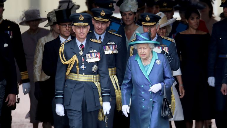Sir Stephen Hillier with the Queen at the RAF centenary last summer