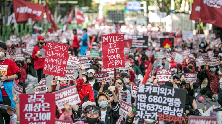 Thousands of women rallied against South Korea's problem with hidden camera pornography in 2018