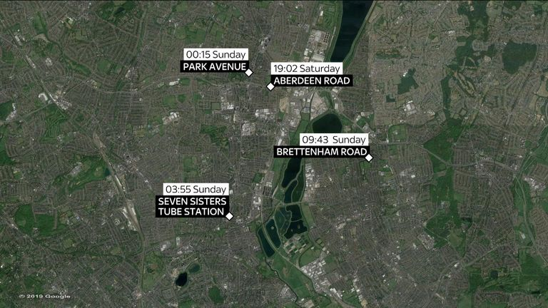 A map of where the four stabbings in north London took place