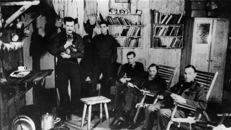 Prisoners of war in one of the huts in Stalag Luft 3, circa 1943
