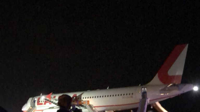 Still from the runway at Stansted, where flights have been grounded due to reports of a plane's engine failing