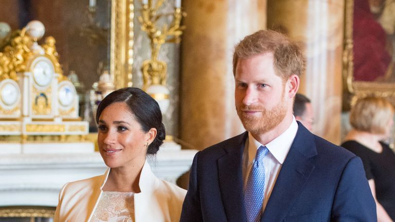 The Duke and Duchess of Sussex attend a reception at Buckingham Palace in London to mark the fiftieth anniversary of the investiture of the Prince of Wales.